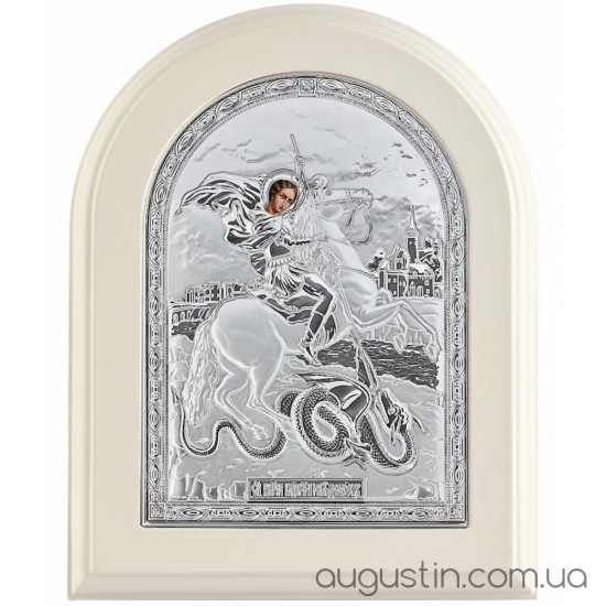 Икона Георгия Победоносца в серебре