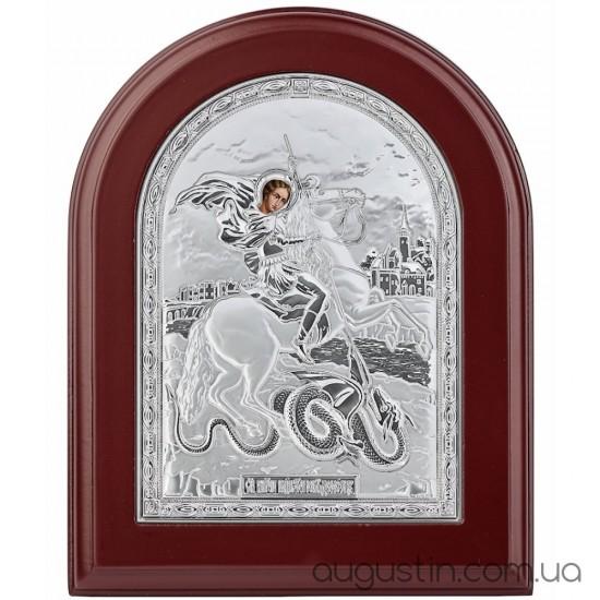 Икона Святого Георгия Победоносца в серебре