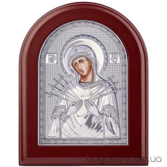 Семистрельная икона Божией Матери в серебре